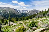 Beautiful scenic view of Rocky Mountain National Park in summer.