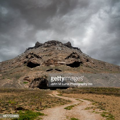 Rocky mountain with angry face, Yemen
