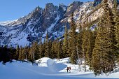"""""""People hiking in the beautiful Rocky Mountains in winter. Taken at Dream Lake in Rocky Mountain National Park, Colorado."""""""