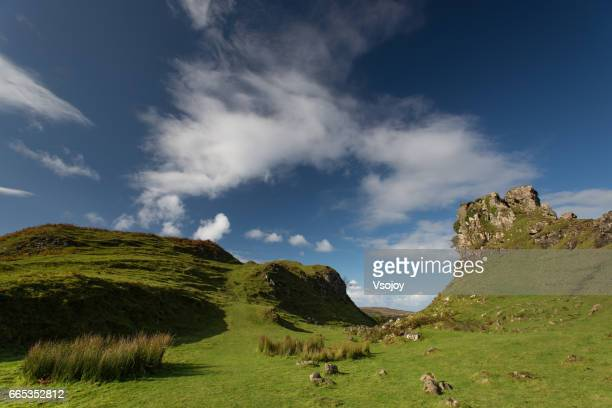 Rocky outcrops at Fairy Glen Natural Landscape, Isle of Skye, Scotland