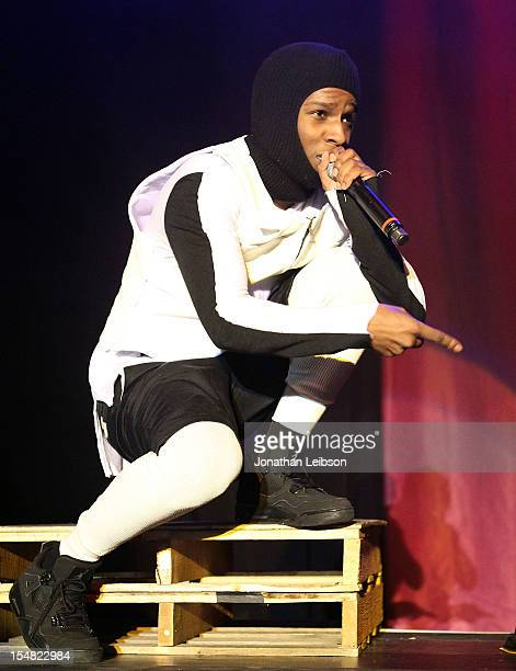 Rocky performs at the A$AP Rocky In Concert LongLiveA$AP Tour Los Angeles CA at The Hollywood Palladium on October 26 2012 in Los Angeles California