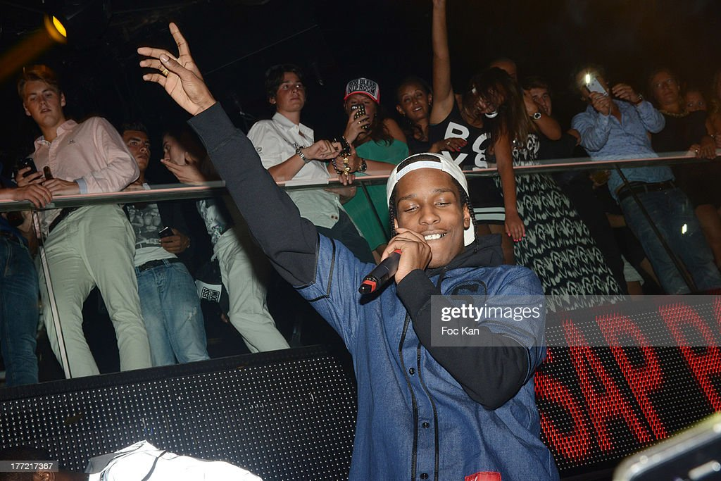 Rocky performs during the <a gi-track='captionPersonalityLinkClicked' href=/galleries/search?phrase=ASAP+Rocky&family=editorial&specificpeople=8562085 ng-click='$event.stopPropagation()'>ASAP Rocky</a> Party at the VIP Room on August 21, 2013 in Saint Tropez, France.