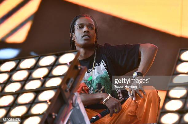 Rocky performs in the Sahara Tent with Lil Uzi Vert during day 3 of the 2017 Coachella Valley Music Arts Festival at the Empire Polo Club on April 23...