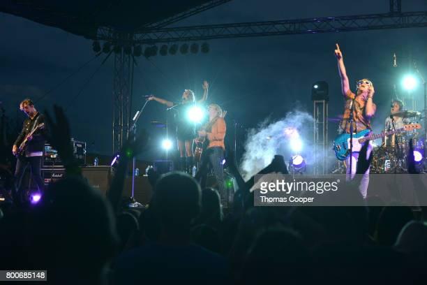 Rocky Rydel Ross Riker Lynch and Ellington Ratliff of the Pop Band R5 jamm out at Elitch Gardens on June 24 2017 in Denver Colorado