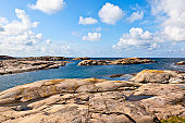 Rocky sea archipelago of islands in the summer time