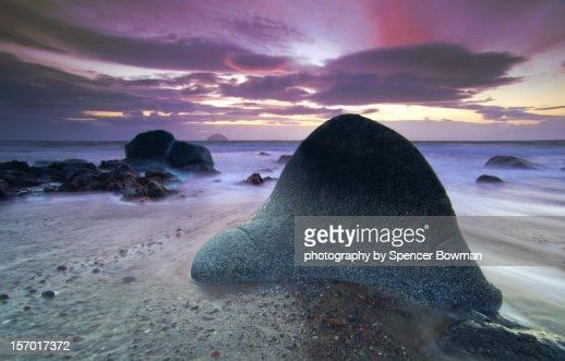 rocky shore sunset : Stock Photo