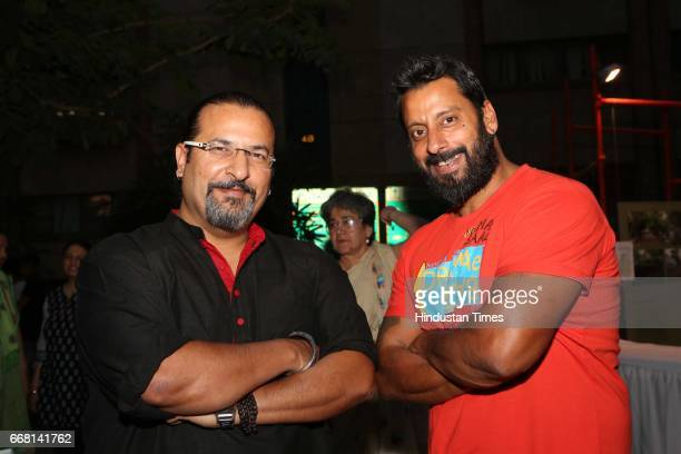 Rocky Singh and Mayur Sharma hosts of popular TV show 'Highway On My Plate' during the Mela Phulkari at India Habitat Centre on April 9 2017 in New...