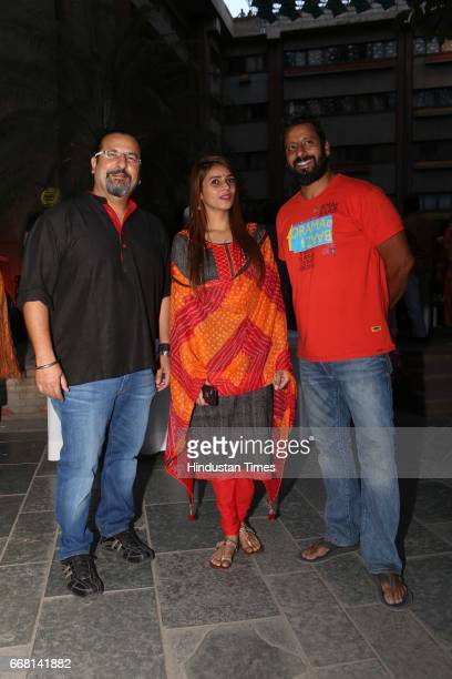 Rocky Singh and Mayur Sharma hosts of popular TV show 'Highway On My Plate' with Yamini Prakash during the Mela Phulkari at India Habitat Centre on...