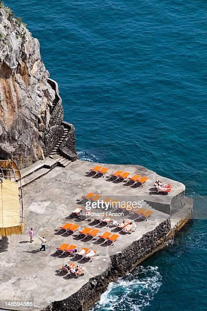 Rocky terrace at Il San Pietro Hotel, Amalfi Coast.