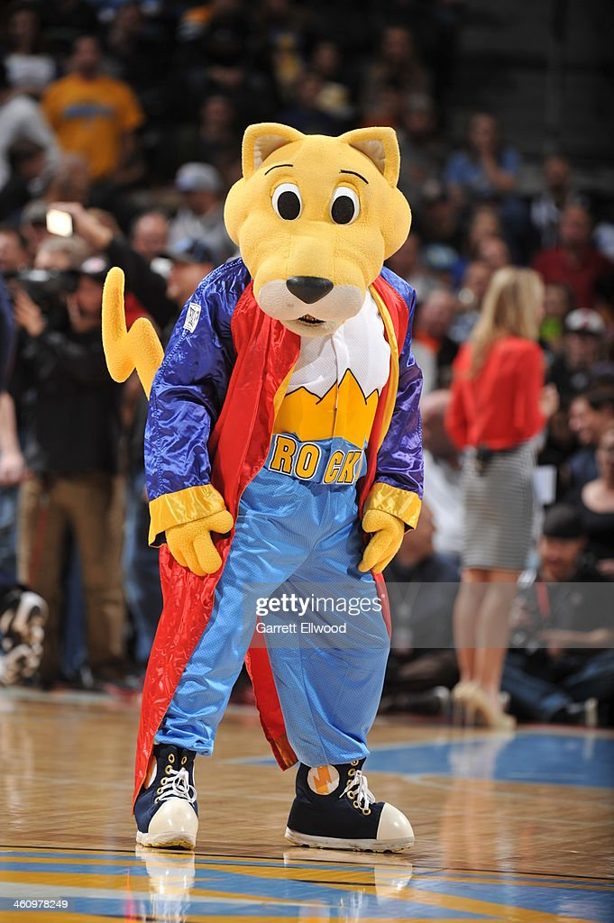 Rocky the Denver Nuggets mascot performs for the fans against the Oklahoma City Thunder on December 17, 2013 at the Pepsi Center in Denver, Colorado.