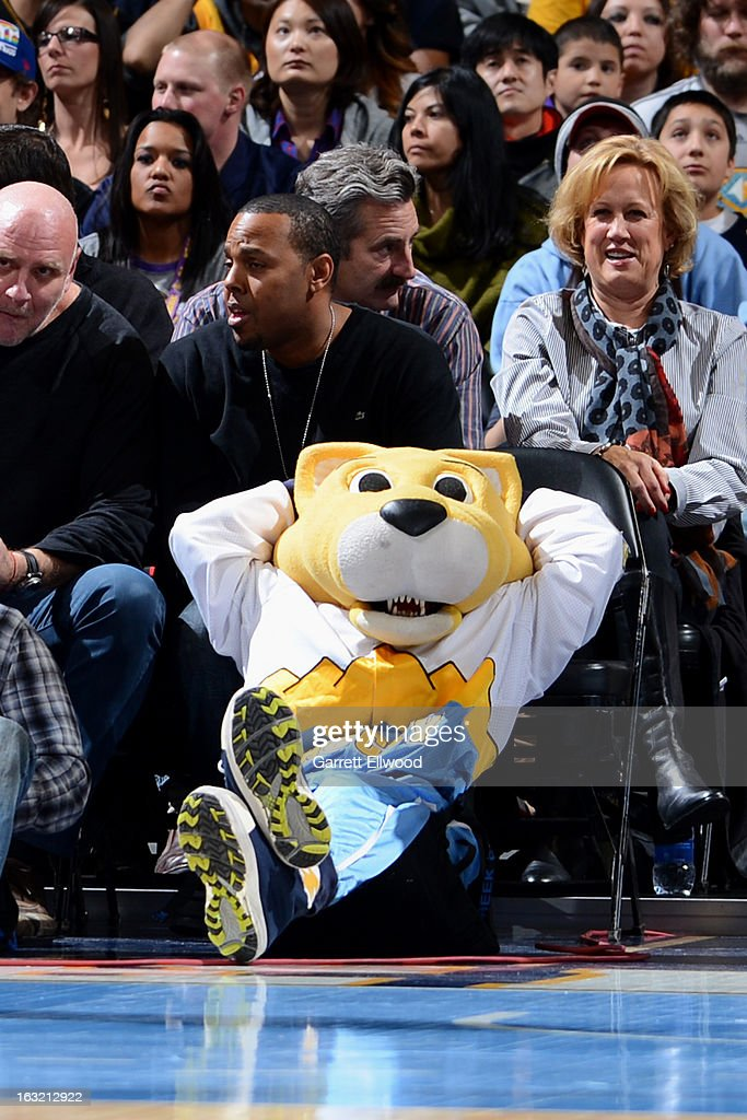 Rocky the Denver Nuggets mascot relaxes during the game against the Los Angeles Lakers on February 25, 2013 at the Pepsi Center in Denver, Colorado.