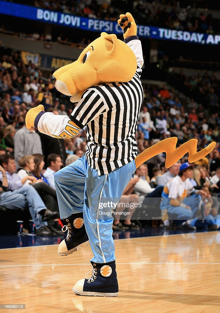 Rocky the mascot of the Denver Nuggets entertains the fans while dressed in a referees short at the Pepsi Center on April 4, 2013 in Denver, Colorado. The Nuggets defeated the Mavericks 95-94.