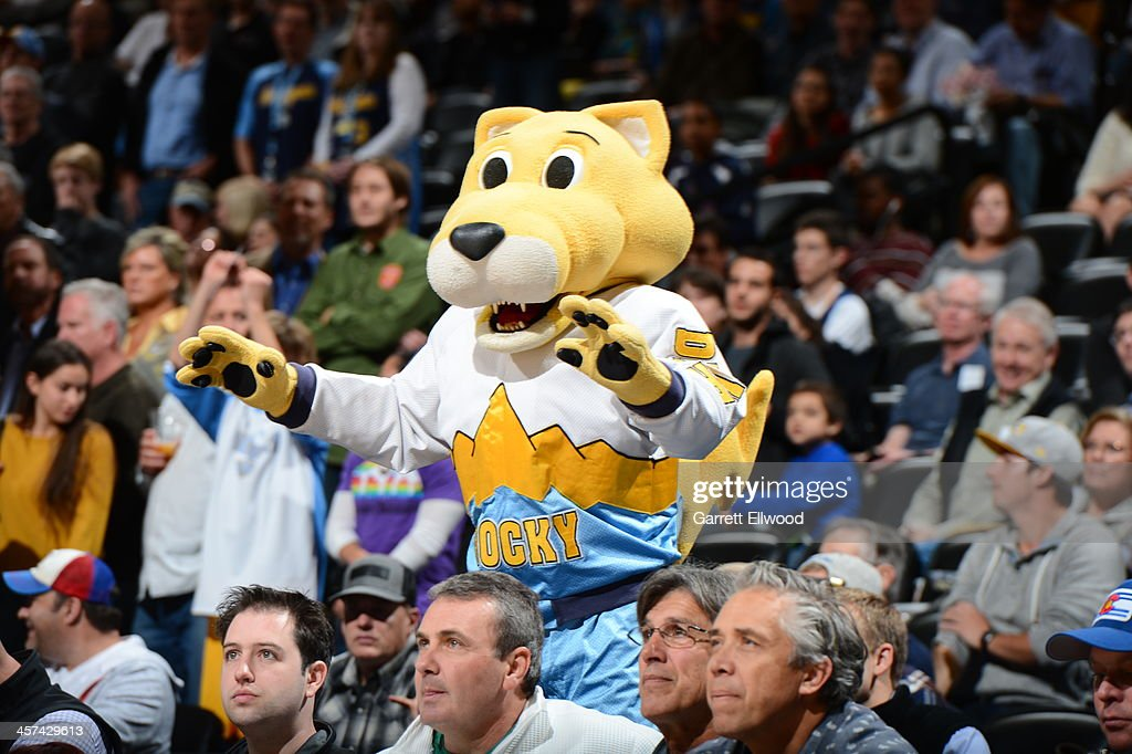 Rocky the mascot of the Denver Nuggets gets the crowd into the game against the Los Angeles Lakers on November 13, 2013 at the Pepsi Center in Denver, Colorado.