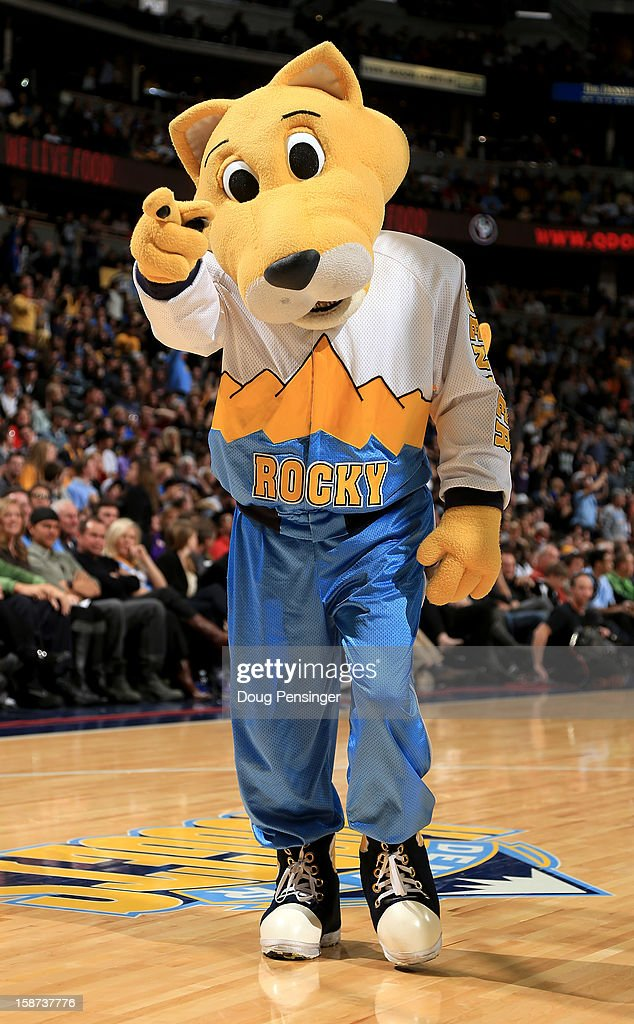 Rocky, the mascot of the Denver Nuggets, supports the team against the Los Angeles Lakers at Pepsi Center on December 26, 2012 in Denver, Colorado. The Nuggets defeated the Lakers 126-114.