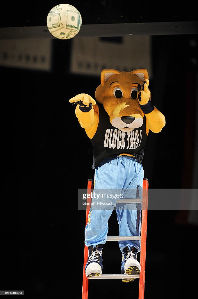 Rocky the Mountain Lion, mascot of the Denver Nuggets, performs during a game against the Oklahoma City Thunder on March 1, 2013 at the Pepsi Center in Denver, Colorado.