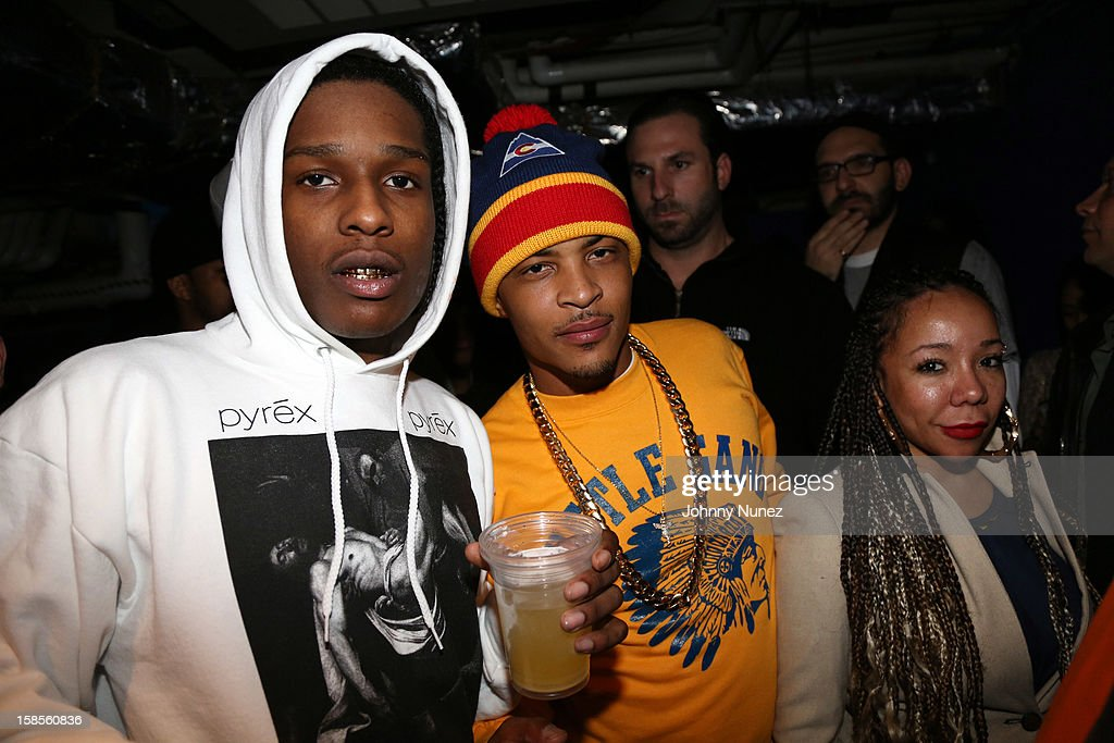 Rocky, T.I., and Tameka 'Tiny' Harris attend 'T.I. In Concert' at Best Buy Theater on December 18, 2012 in New York, United States.