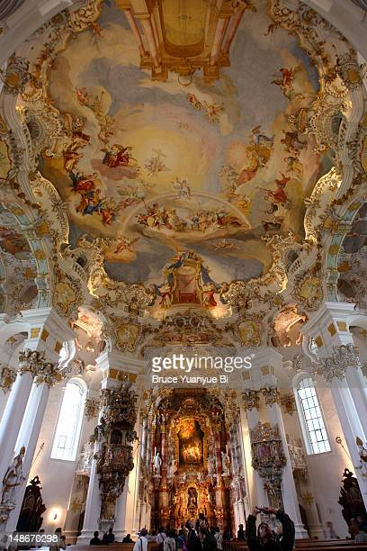 Rococo interior of Pilgrimage Church of Wies (Wieskirche).