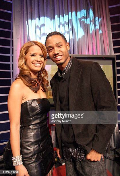 Rocsi and Terrence of 106 Park during Sean P Diddy Combs Appears on 106 and Park at BET Studios in New York City New York United States