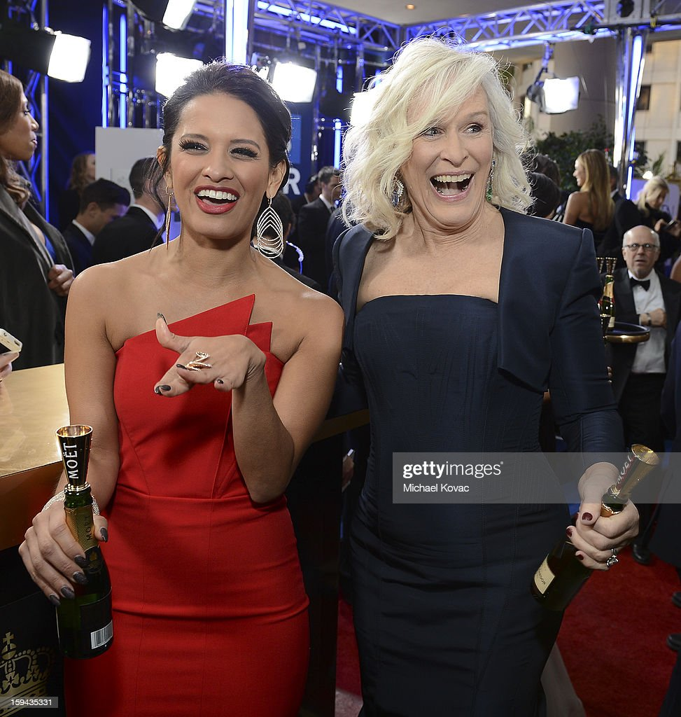 Rocsi Diaz and Glenn Close attend Moet & Chandon At The 70th Annual Golden Globe Awards Red Carpet at The Beverly Hilton Hotel on January 13, 2013 in Beverly Hills, California.