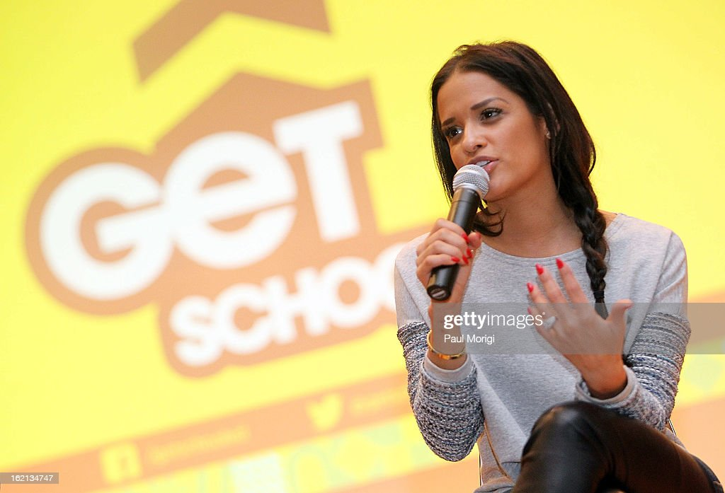 Rocsi Diaz congratulates Browne Education Campus students for their achievements during the Get Schooled Victory Tour on February 19, 2013 in Washington, DC.