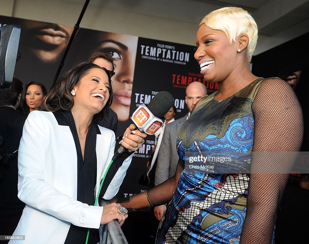 <a gi-track='captionPersonalityLinkClicked' href=/galleries/search?phrase=Rocsi&family=editorial&specificpeople=747177 ng-click='$event.stopPropagation()'>Rocsi</a> Diaz interview Nene Leakes at the 'Tyler Perry's Temptation: Confessions Of A Marriage Counselor' Atlanta Screening at AMC Parkway Pointe on March 16, 2013 in Atlanta, Georgia.