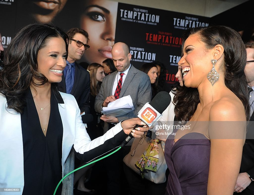 <a gi-track='captionPersonalityLinkClicked' href=/galleries/search?phrase=Rocsi&family=editorial&specificpeople=747177 ng-click='$event.stopPropagation()'>Rocsi</a> Diaz interviews Jurnee Smollett-Bell during the 'Tyler Perry's Temptation: Confessions Of A Marriage Counselor' Atlanta Screening at AMC Parkway Pointe on March 16, 2013 in Atlanta, Georgia.