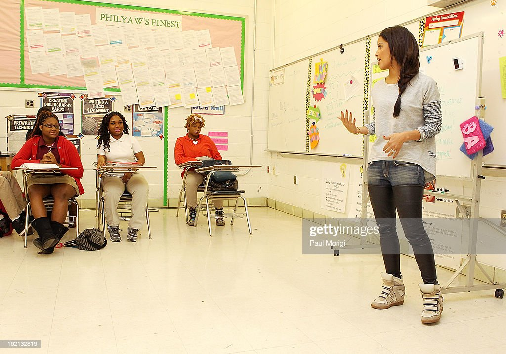 Rocsi Diaz visits a Browne Education Campus classroom during the Get Schooled Victory Tour on February 19, 2013 in Washington, DC.