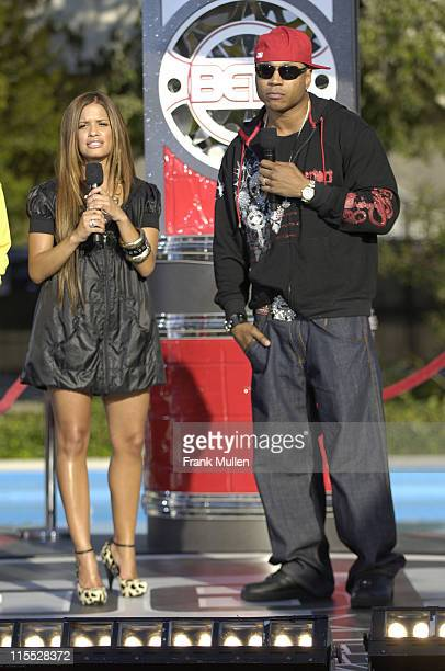 Rocsi from BET's 106 Park and rapper LL Cool J attend the 106 Park preshow before the BET Hip Hop Awards 2007 at the Atlanta Civic Center on October...