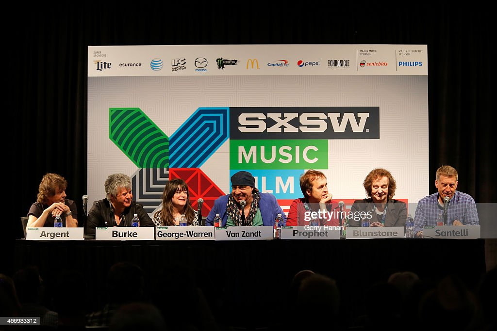 Rod Argent, Clem Burke, Holly George-Warren, Steven Van Zandt, Chuck Prophet, Colin Blunstone, and Bob Santelli speak onstage at 'The Who At 50' during the 2015 SXSW Music, Film + Interactive Festival at Austin Convention Center on March 19, 2015 in Austin, Texas.