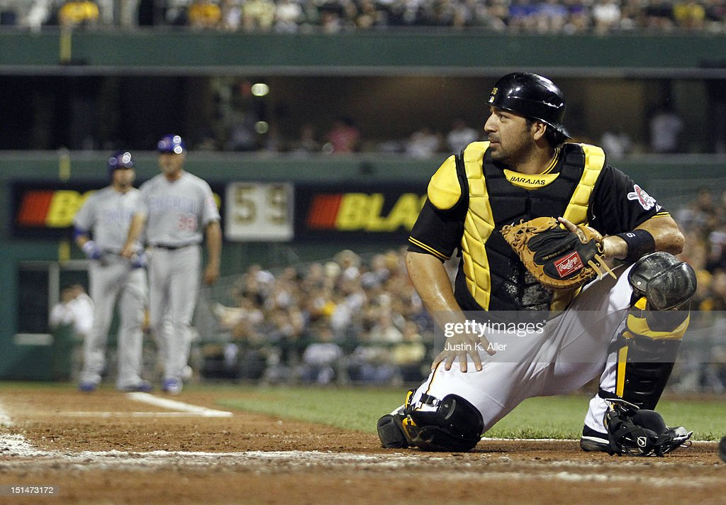 <a gi-track='captionPersonalityLinkClicked' href=/galleries/search?phrase=Rod+Barajas&family=editorial&specificpeople=211198 ng-click='$event.stopPropagation()'>Rod Barajas</a> #26 of the Pittsburgh Pirates reacts during the sixth inning against the Chicago Cubs during the game on September 7, 2012 at PNC Park in Pittsburgh, Pennsylvania.