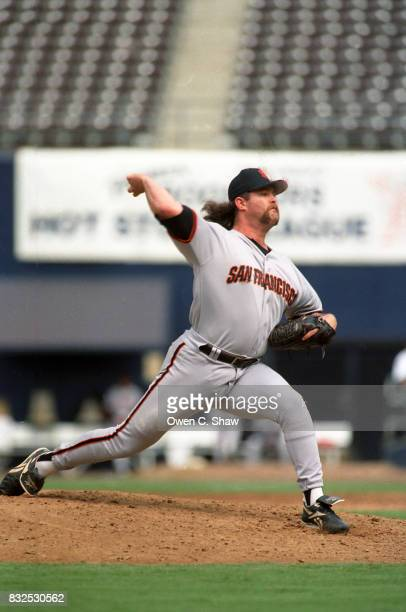 Rod Beck of the San Francisco Giants pitches against the San Diego Padres at Jack Murphy Stadium circa 1997 in San Diego California