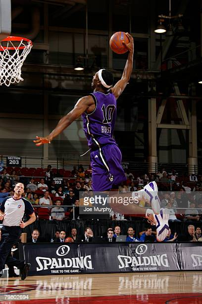 Rod Benson of the Blue Team dunks during the DLeague AllStar Game presented by Spalding on February 16 2008 at the Ernest N Morial Convention Center...