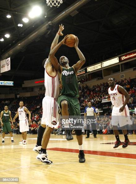 Rod Benson of the Reno Bighorns shoots while being defended by Julian Sensley of the Rio Grande Valley Vipers on April 12 2010 at the State Farm...