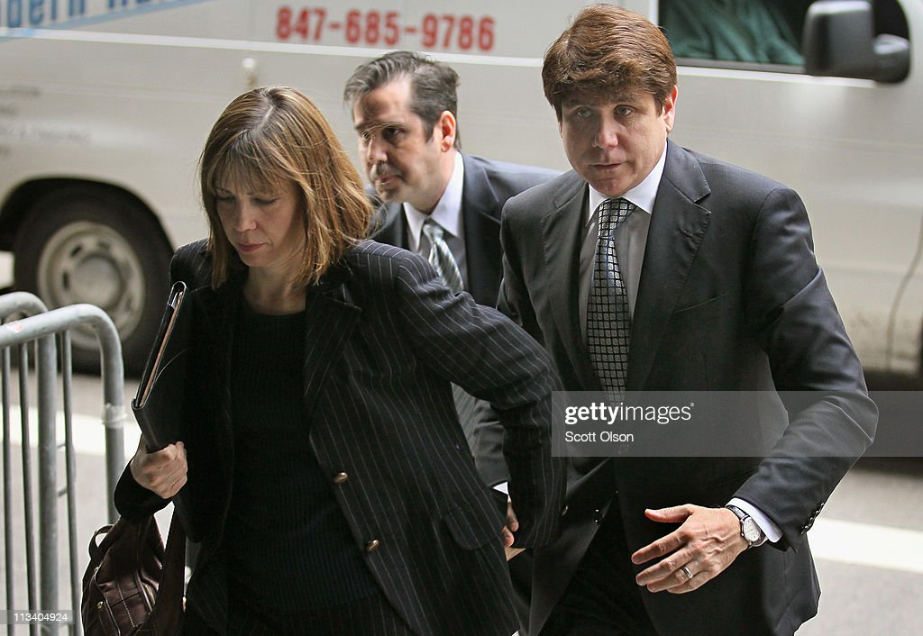Rod Blagojevich and his wife Patti arrive at the federal courthouse where opening remarks are expected to be delivered at the former Illinois Gorvernor's re-trial May 2, 2011 in Chicago, Illinois. In August 2010 Blagojevich was found guilty on one charge of giving a false statement to federal agents. The jury was unable to reach a verdict on 23 other counts against him.