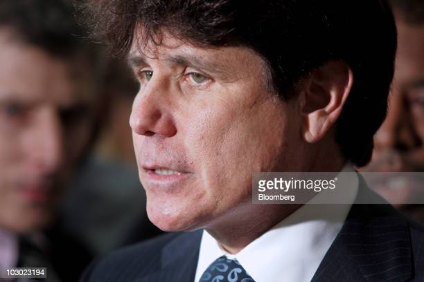Rod Blagojevich former governor of Illinois speaks outside the Dirksen Federal Building after a hearing in his corruption trial in Chicago Illinois...