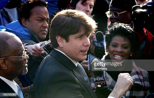 Rod Blagojevich former governor of Illinois speaks to the media while arriving home after sentencing in Chicago Illinois US on Wednesday Dec 7 2011...