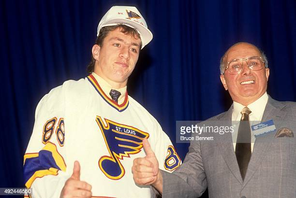 Rod Brind'Amour 1st round and 9th overall pick gives a thumbs up after being drafted by the St Louis Blues during the 1988 NHL Draft on June 11 1988...