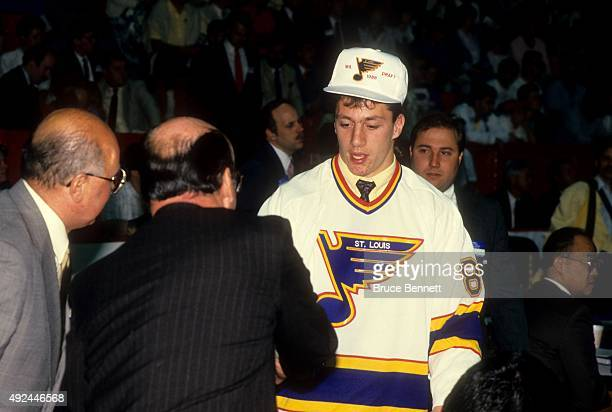 Rod Brind'Amour 1st round and 9th overall pick is drafted by the St Louis Blues during the 1988 NHL Draft on June 11 1988 at the Montreal Forum in...