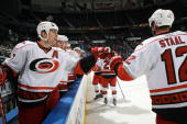 Rod Brind'Amour of the Carolina Hurricanes celebrates with Eric Staal after scoring a goal against the Atlanta Thrashers at Philips Arena on January...