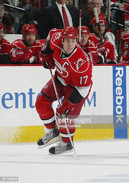 Rod Brind'Amour of the Carolina Hurricanes during Game Four of the Eastern Conference Semifinal Round of the 2009 Stanley Cup Playoffs against the...