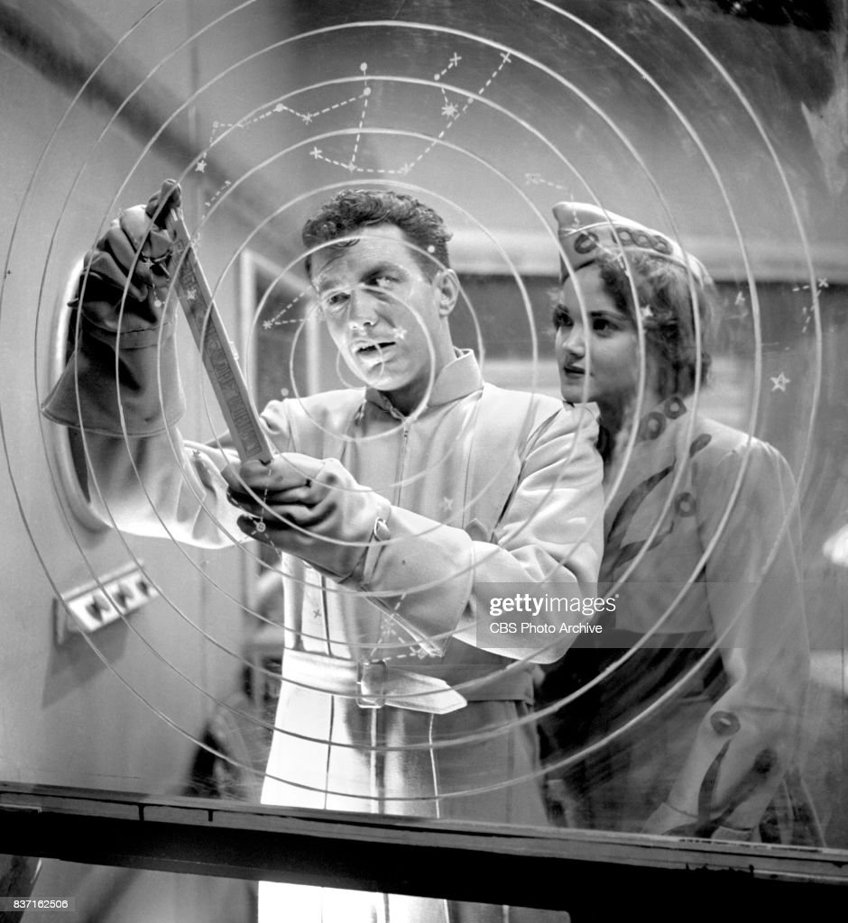 'Rod Brown of the Rocket Rangers' the CBS television science fiction series, broadcast live. Pictured is Cliff Robertson (as Ranger Rod Brown) and actress Shirley Standlee. Premiere episode titled: Operation Decoy. New York, NY.