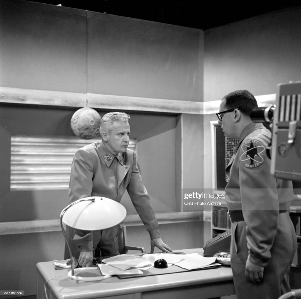 'Rod Brown of the Rocket Rangers' the CBS television science fiction series, broadcast live. Pictured from left is John Boruff (as Commander Swift) and Jack Weston (as Wilbur 'Wormsey' Wormser). Premiere episode titled: Operation Decoy. New York, NY.