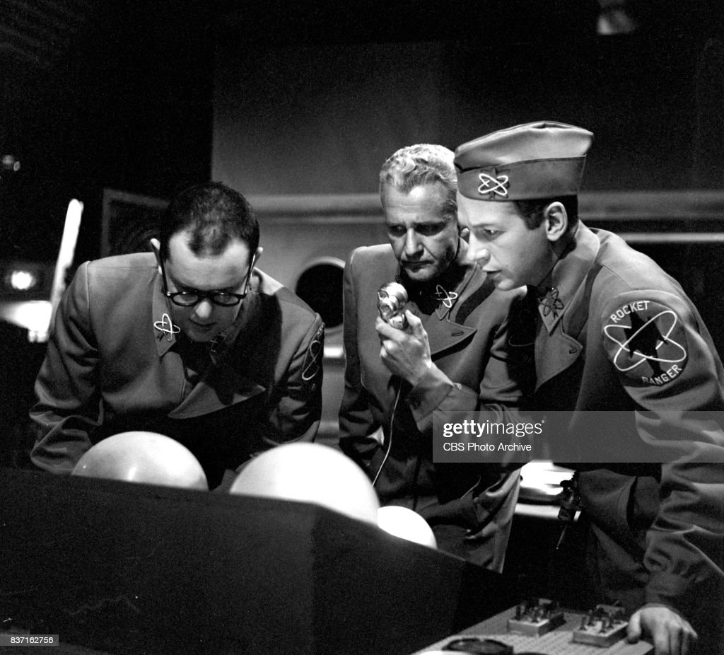 'Rod Brown of the Rocket Rangers' the CBS television science fiction series, broadcast live. Pictured from left is Jack Weston (as Wilbur 'Wormsey' Wormser), John Boruff (as Commander Swift) and Bruce Hall (as Captain Frank Boyd). Premiere episode titled: Operation Decoy. New York, NY.