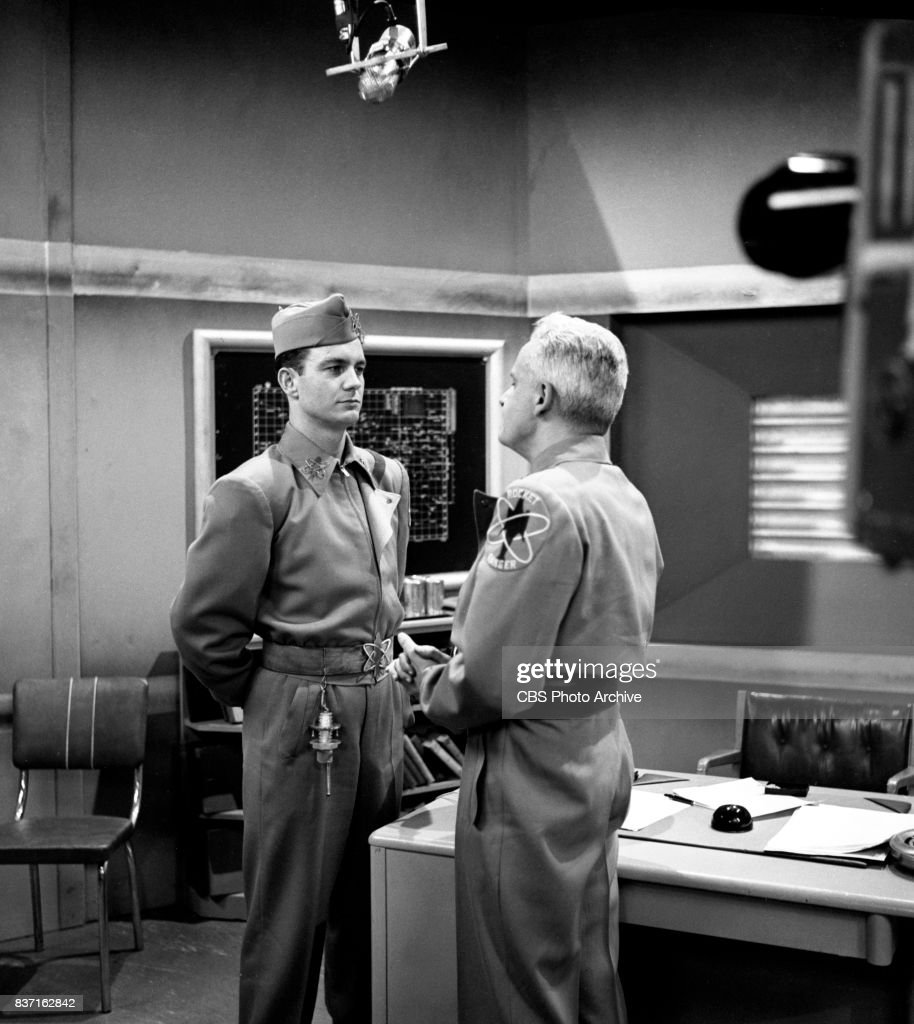 'Rod Brown of the Rocket Rangers' the CBS television science fiction series, broadcast live. Pictured from left: Cliff Robertson (as Ranger Rod Brown), John Boruff (as Commander Swift). Premiere episode titled: Operation Decoy. New York, NY.