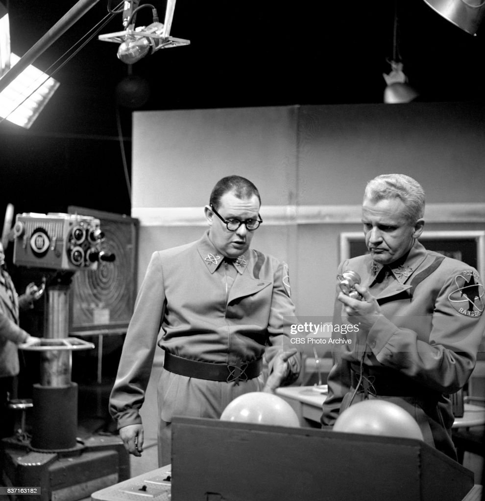 'Rod Brown of the Rocket Rangers' the CBS television science fiction series, broadcast live. Pictured from left is Jack Weston (as Wilbur 'Wormsey' Wormser), John Boruff (as Commander Swift). Premiere episode titled: Operation Decoy. New York, NY.