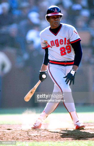 Rod Carew checks his swing during a game in 1983 at the Big A in Anaheim California