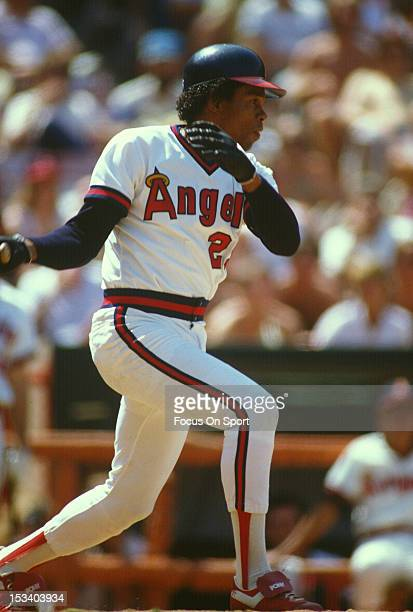 Rod Carew of the California Angels bats against the Minnesota Twins during an Major League Baseball game circa 1983 at Anaheim Stadium in Anaheim...