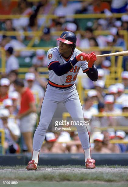 Rod Carew of the California Angels bats during an MLB game at Comiskey Park in Chicago Illinois Rod Carew played for the California Angels from...