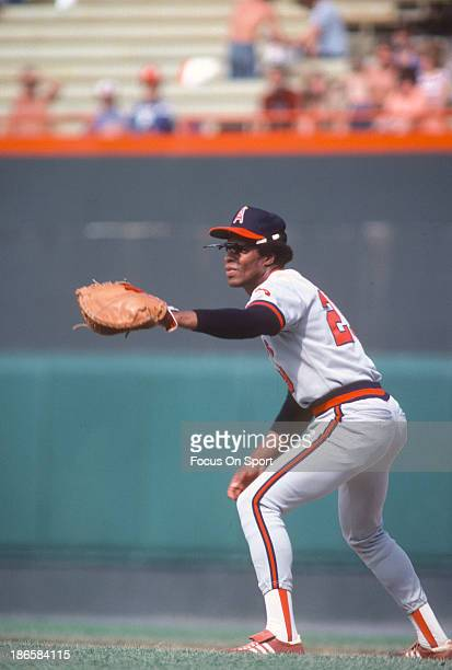 Rod Carew of the California Angels in action against the Baltimore Orioles during an Major League Baseball game circa 1979 at Memorial Stadium in...