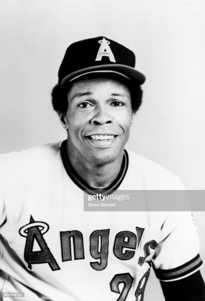 Rod Carew #29 of the California Angels poses for a portrait during Spring Training circa March, 1985 in Palm Springs, California.